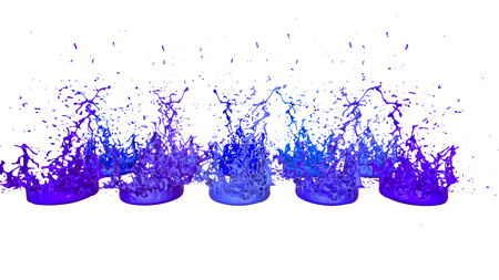 paints dance on white background. Simulation of 3d splashes of ink on a musical speaker that play music. beautiful splashes as a bright background in ultra high quality. shades of blue v7