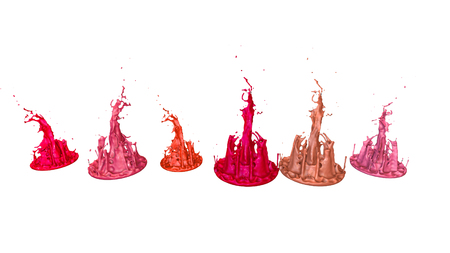 paints dance on white background. Simulation of 3d splashes of ink on a musical speaker that play music. beautiful splashes as a bright background in ultra high quality. shades of red v9