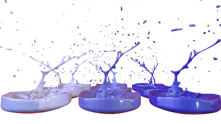 paints dance on white background. Simulation of 3d splashes of ink on a musical speaker that play music. beautiful splashes as a bright background in ultra high quality. shades of blue v2