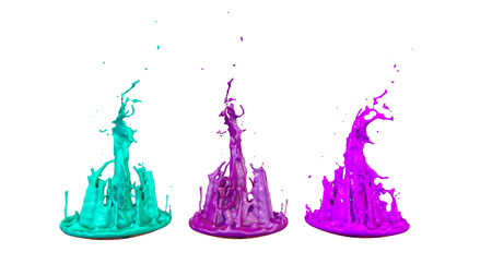 paints dance on white background. Simulation of 3d splashes of ink on a musical speaker that play music. beautiful splashes as a bright background in ultra high quality. shades multi colored v3