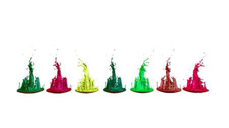 paints dance on white background. Simulation of 3d splashes of ink on a musical speaker that play music. beautiful splashes as a bright background in ultra high quality. shades multi colored v4