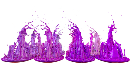 paints dance on white background. Simulation of 3d splashes of ink on a musical speaker that play music. beautiful splashes as a bright background in ultra high quality. 2