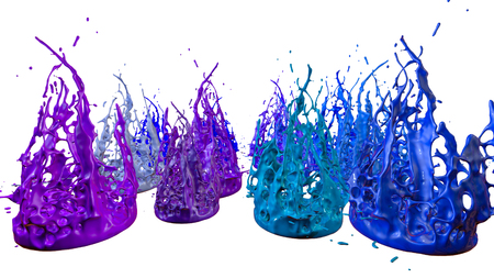 paints dance on white background. Simulation of 3d splashes of ink on a musical speaker that play music. beautiful splashes as a bright background in ultra high quality. shades of blue v9 Stock Photo