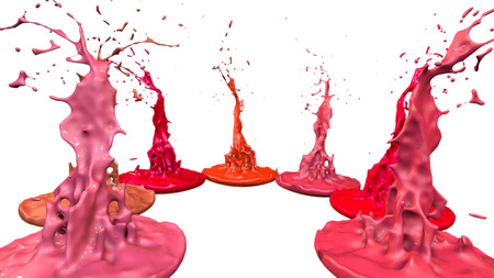 paints dance on white background. Simulation of 3d splashes of ink on a musical speaker that play music. beautiful splashes as a bright background in ultra high quality. shades of red v24