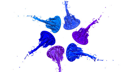 paints dance on white background. Simulation of 3d splashes of ink on a musical speaker that play music. beautiful splashes as a bright background in ultra high quality. shades of blue v12