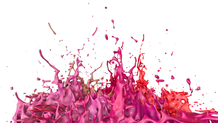 paints dance on white background. Simulation of 3d splashes of ink on a musical speaker that play music. beautiful splashes as a bright background in ultra high quality. shades of red v48 Imagens