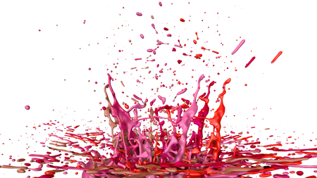 paints dance on white background. Simulation of 3d splashes of ink on a musical speaker that play music. beautiful splashes as a bright background in ultra high quality. shades of red v50