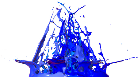 paints dance on white background. Simulation of 3d splashes of ink on a musical speaker that play music. beautiful splashes as a bright background in ultra high quality. shades of blue v46