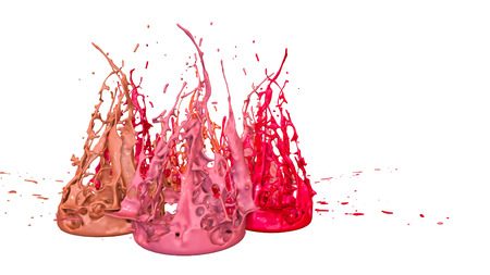paints dance on white background. Simulation of 3d splashes of ink on a musical speaker that play music. beautiful splashes as a bright background in ultra high quality. shades of red v30 Imagens