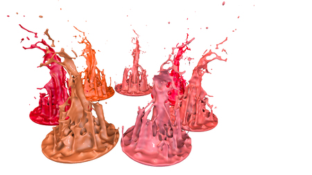 paints dance on white background. Simulation of 3d splashes of ink on a musical speaker that play music. beautiful splashes as a bright background in ultra high quality. shades of red v31 Stock Photo