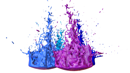 paints dance on white background. Simulation of 3d splashes of ink on a musical speaker that play music. beautiful splashes as a bright background in ultra high quality. shades of blue v31 Stock Photo