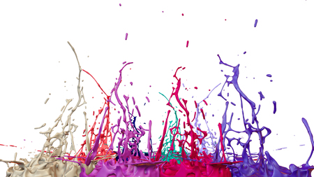 paints dance on white background. Simulation of 3d splashes of ink on a musical speaker that play music. beautiful splashes as a bright background in ultra high quality. shades multi colored v24 Imagens - 98725279
