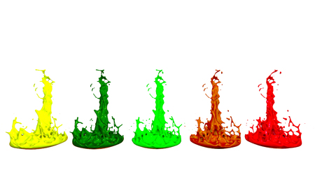 paints dance on white background. Simulation of 3d splashes of ink on a musical speaker that play music. beautiful splashes as a bright background in ultra high quality. shades multi colored v7