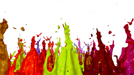 paints dance on white background. Simulation of 3d splashes of ink on a musical speaker that play music. beautiful splashes as a bright background in ultra high quality. shades multi colored v22 Imagens