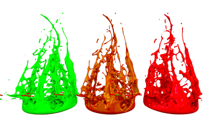 paints dance on white background. Simulation of 3d splashes of ink on a musical speaker that play music. beautiful splashes as a bright background in ultra high quality. shades multi colored v8 Imagens - 98725287