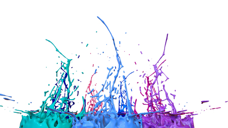 paints dance on white background. Simulation of 3d splashes of ink on a musical speaker that play music. beautiful splashes as a bright background in ultra high quality. shades of blue v25 Imagens