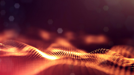 science fiction background of glowing particles with depth of field and bokeh. Particles form line and abstract surface grid. 3d rendering V32 red gold Stock Photo