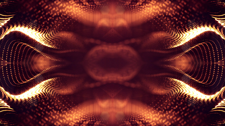 science fiction background of glowing particles with depth of field and bokeh. Particles form line and abstract surface grid. 3d rendering V46 red gold
