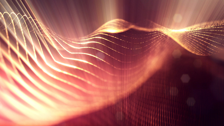 science fiction background of glowing particles with depth of field and bokeh. Particles form line and abstract surface grid. 3d rendering V74 red gold with light rays