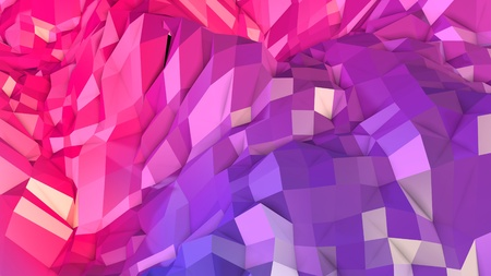 3d rendering low poly abstract geometric background with modern gradient colors. 3d surface as cartoon terrain with blue red gradient v1 Stock Photo