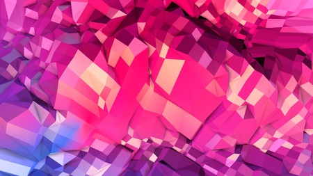 3d rendering low poly abstract geometric background with modern gradient colors. 3d surface as cartoon terrain with blue red gradient v8