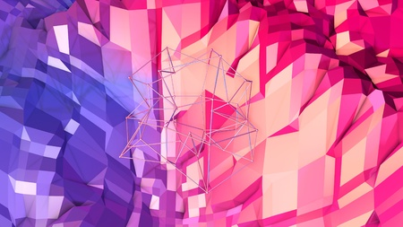 3d rendering low poly abstract geometric background with modern gradient colors. 3d surface as cartoon terrain with blue red gradient with round wireframe grid v3
