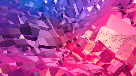 3d rendering low poly abstract geometric background with modern gradient colors. 3d surface as cartoon terrain with blue red gradient v12 Stock Photo
