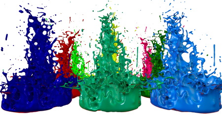 paints dance on white background. Simulation of 3d splashes of ink on a musical speaker that play music. beautiful splashes in ultra high quality. Multi colored V2