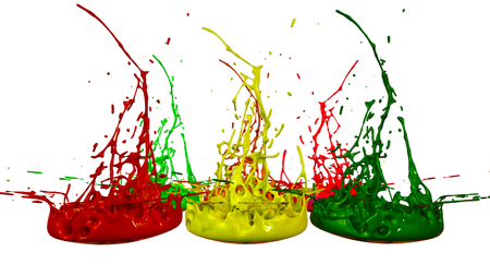 paints dance on white background. Simulation of 3d splashes of ink on a musical speaker that play music. beautiful splashes in ultra high quality. Multi colored V4
