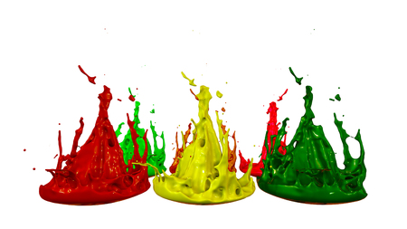 paints dance on white background. Simulation of 3d splashes of ink on a musical speaker that play music. beautiful splashes in ultra high quality. Multi colored V5