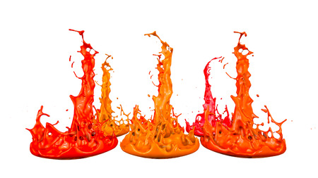 paints dance on white background. Simulation of 3d splashes of ink on a musical speaker that play music. beautiful splashes in ultra high quality. Shades of red V1 Imagens - 100049115