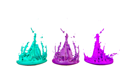 paints dance on white background. Simulation of 3d splashes of ink on a musical speaker that play music. beautiful splashes in ultra high quality. Multi colored V6 Imagens