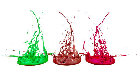 paints dance on white background. Simulation of 3d splashes of ink on a musical speaker that play music. beautiful splashes in ultra high quality. Multi colored V7