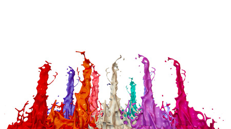 paints dance on white background. Simulation of 3d splashes of ink on a musical speaker that play music. beautiful splashes in ultra high quality. Shades of red V20