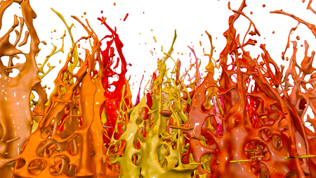 paints dance on white background. Simulation of 3d splashes of ink on a musical speaker that play music. beautiful splashes in ultra high quality. Shades of red V11 版權商用圖片 - 100048805