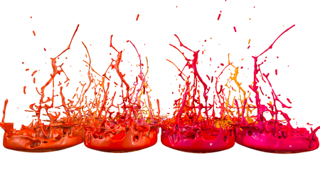 paints dance on white background. Simulation of 3d splashes of ink on a musical speaker that play music. beautiful splashes in ultra high quality. Shades of red V4 Imagens - 100048454
