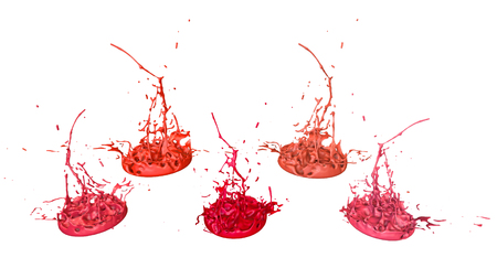 paints dance on white background. Simulation of 3d splashes of ink on a musical speaker that play music. beautiful splashes in ultra high quality. Shades of red V17 Imagens