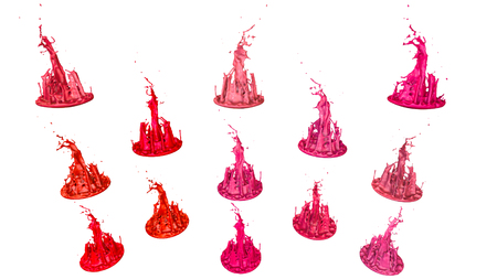 paints dance on white background. Simulation of 3d splashes of ink on a musical speaker that play music. beautiful splashes in ultra high quality. Shades of red V18