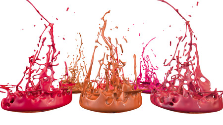 paints dance on white background. Simulation of 3d splashes of ink on a musical speaker that play music. beautiful splashes in ultra high quality. Shades of red V5 Imagens - 100048458