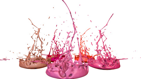 paints dance on white background. Simulation of 3d splashes of ink on a musical speaker that play music. beautiful splashes in ultra high quality. Shades of red V28 Imagens - 100048462