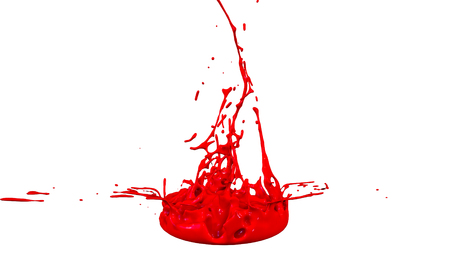 paints dance on white background. Simulation of 3d splashes of ink on a musical speaker that play music. beautiful splashes in ultra high quality. Shades of red V31 Imagens