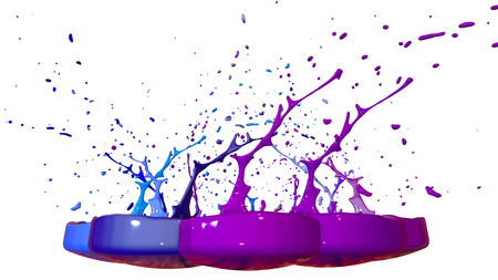 paints dance on white background. Simulation of 3d splashes of ink on a musical speaker that play music. beautiful splashes in ultra high quality. Shades of blue V21