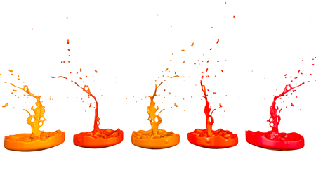 paints dance on white background. Simulation of 3d splashes of ink on a musical speaker that play music. beautiful splashes in ultra high quality. Shades of red V3