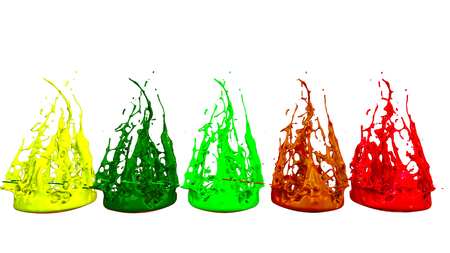 paints dance on white background. Simulation of 3d splashes of ink on a musical speaker that play music. beautiful splashes in ultra high quality.