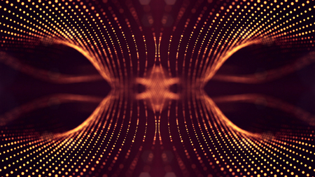 Golden red particles form line and surface grid. microcosm or space. 3d rendering science fiction background of glowing particles with depth of field and bokeh. symmetrical structures 13