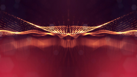 Golden red particles form line and surface grid. microcosm or space. 3d rendering science fiction background of glowing particles with depth of field and bokeh. 5