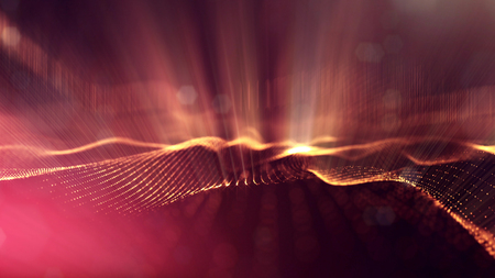 Golden red particles form line and surface grid. microcosm or space. 3d rendering science fiction background of glowing particles with depth of field and bokeh. Curved lines 13