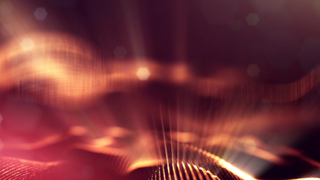 Golden red particles form line and surface grid. microcosm or space. 3d rendering science fiction background of glowing particles with depth of field and bokeh. Curved lines 18 Stock Photo
