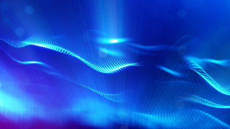 blue particles form line and surface grid. microcosm or space. 3d rendering science fiction background of glowing particles with depth of field and bokeh. Curved lines 13