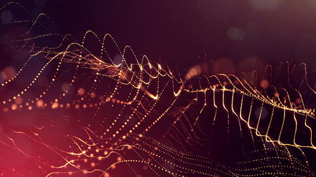Golden red particles form line and surface grid. microcosm or space. 3d rendering science fiction background of glowing particles with depth of field and bokeh. Curved lines 6 Stock Photo